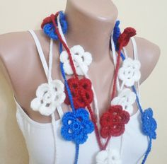 4th july Lariat Flower scarf Women accessories by BloomedFlower, $25.00
