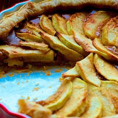 My Apple or Quince Tart with Creamy Queso Fresco Filling #recipe... The perfect #4thofJuly dessert.  INGREDIENTS: - 1 sheet frozen puff pastry (from a 17-ounce package), thawed - 1 10-ounce package Cacique® Queso Blanco Fresco, crumbled - 1/2 cup Cacique® Ranchero Crema Natural - 2 eggs - 1/2 cup dark brown sugar - 1/2 teaspoon cinnamon - Pinch salt - 2 large cooking apples, peeled, cored and sliced thin (or 1 1/2 cups candied quince) - 3 tablespoons granulated sugar