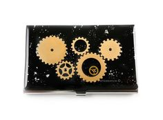New to EdwardianRenaissance on Etsy: Steampunk Metal Card Case Gear and Cog Business Card Case Industrial Metal Wallet Black with SilverSplash Business Card Holder (48.00 USD)