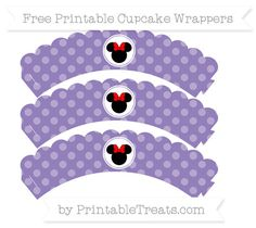 Free Pastel Dark Plum Dotted Pattern Minnie Mouse Scalloped Cupcake Wrappers