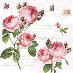Vintage Roses (original source unknown) Decoupage Vintage, Vintage Diy, Decoupage Glass, Paper Napkins For Decoupage, Vintage Cards, Vintage Paper, Vintage Flowers, Vintage Floral, Photo Rose