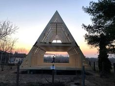 Trio 120 build in Hungary. The client is also our representative in the area. Hunting Cabin, A Frame House, Affordable Housing, Kit Homes, New Builds, Hungary, Around The Worlds, Farmhouse, House Design