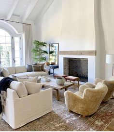 Cozy cottage style white and beige living room decor with slipcovered sectional and sheepskin chair Living Room Decor Set, Beige Living Rooms, Small Living Rooms, Living Room Modern, Rugs In Living Room, Interior Design Living Room, Room Rugs, Beige And White Living Room, Living Spaces
