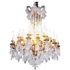 Fabulous rock crystal and chiseled gilt bronze chandelier, Lousi XVI style, 2016 early century structure in gilt bronze with custom carved rock crystal drops and pearls. 24 lights Absolutely spectacular One of a kind. Bronze Chandelier, Candle Chandelier, Vintage Chandelier, Vintage Lamps, Chandeliers, Glass Lamp Base, Contemporary Lamps, Lamp Bases, Ceiling Lights