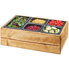 Cal Mil Madera Reclaimed Wood Salad Station with Clear Ice Liner & 5 Black Pans - 22 x 14 x 7 in. Catering Buffet, Catering Display, Catering Food, Wedding Catering, Catering Ideas, Catering Events, Paninis, Taquero, Peach Syrup