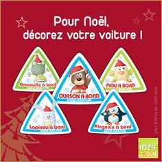 Stickers bébé à bord personnalisables en texte aux couleurs de Noël. Les voici les lutins de Noël avec leur bonnet rouge : http://www.idzif.com/page-stickers-noel-20228.html