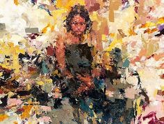 Artist: Joshua Meyer, palette knife {figurative #expressionist female standing woman impressionist texture painting}