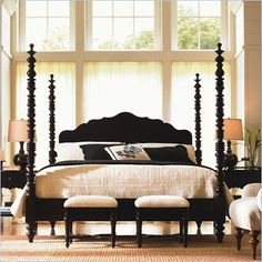 Lexington Long Cove Newport Wood Poster Bed 3 Piece Bedroom Set in Midnight Brown