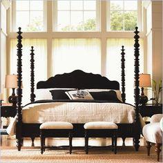 Lexington Long Cove Newport Wood Poster Bed 3 Piece Bedroom Set in Midnight Brown
