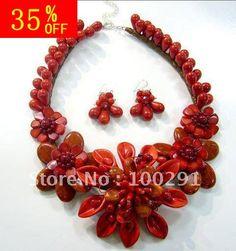 free shipping 35% off  flower necklace big gemsotne shell  coral   hand made flower neckalce for christmas gift,wedding US $88.89