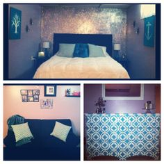 DIY glitter wall, upholstered headboard, and upcycled dresser.