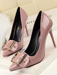Autumn New Women Pumps Thin High Heels Shoes Pointed Patent Leather Metal Belt Buckle Women Heeled Stilettos High Heels Stilettos, Stiletto Heels, Shoes Heels, Women's Pumps, Jeans Heels, Heels Outfits, Sandals Outfit, Outfit Jeans, Bling Wedding Shoes