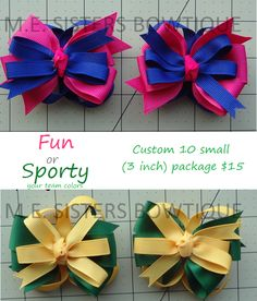 Custom 10 small (3 inch) package $15.   Custom 10 of our 3 inch small bows with butterfly back (same color and design). We can customize your bow with your school or team colors or any 2 colors you like. available for purchase in increments of 10 (same design/colors) for $15. That breaks down to only 1.50 per small bow. www.facebook.com/mesistersbowtique