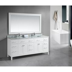 Design Element London 78-inch Double Sink White Vanity with White Carrera Marble Top   Overstock.com Shopping - The Best Deals on Bathroom Vanities