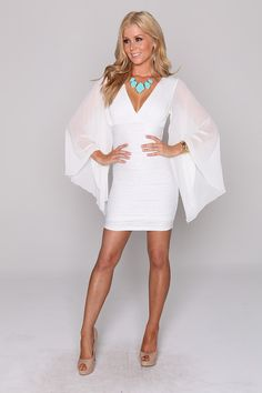 Chiffon Sleeves Bella Dress-Rice :: Blockout Clothing - womens fashion, sporting, gym, dresses, skirts and much more...