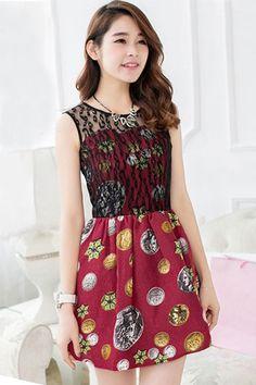 Jacquard Lace Overlay Dress - OASAP.com
