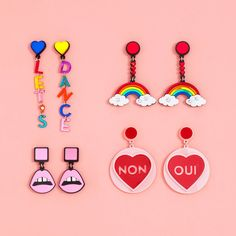 STYLE: let's dance let's dance, ok? how could you not while wearing these whimsical acrylic earrings by jennifer loiselle?! warning: a flash mob may follow you around. - 4.7 in. x 0.6 in. - made of la