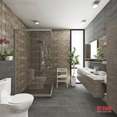 Neutral Tone Bathroom with Spa Shower Flooring https://www.homify.com.my/photo/882456/vista-interior-cuarto-de-bano  Vista Interior -Cuarto de baño (From Dream Arquitectura & Diseño)