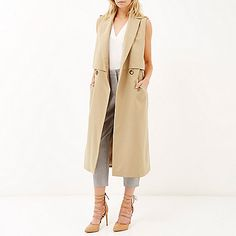 Beige structured sleeveless trench jacket - £75.00 #ImWearingRI #RiverIsland
