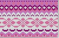 This is a pattern for a knit sweater - maybe this could be repurposed into a peyote/bead weaving pattern? Or if I simplified it, and used extruded squares of polymer clay, could I turn this into a cane? Probably too crazy to actually work Tapestry Crochet Patterns, Fair Isle Knitting Patterns, Knitting Charts, Weaving Patterns, Knitting Stitches, Knitting Designs, Knitting Projects, Motif Fair Isle, Fair Isle Pattern