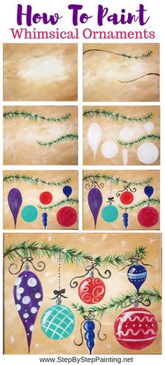 christmas paintings How To Paint Whimsical Ornaments - Step By Step Painting Christmas Paintings, Christmas Art, Christmas Projects, Christmas Decorations, Wood Decorations, Christmas Drawing, Christmas Pictures, Christmas Ornaments, Halloween Decorations
