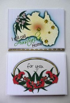 A map of Australia and our Southern Cross and some lovely gumnuts. Use for wri. Australian Christmas Cards, Aussie Christmas, Baby Artwork, Christmas In Australia, Australian Flowers, Card Making Techniques, Paper Roses, Xmas Cards, Greeting Cards Handmade