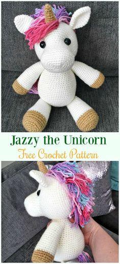 Crochet Jazzy the UnicornAmigurumi Free Pattern-#Amigurumi Crochet #Unicorn; Toy Softies Patterns
