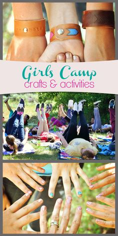 LDS Young Women Girls Camp crafts and activities to keep the girls busy during down time. Plus gourmet camp menus. Great ideas for family reunions, too! https://LittleBirdieSecrets.com