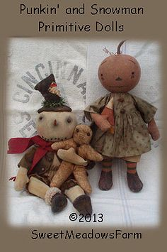 E-PATTERN Primitive Snowman with gingerman and Punkin Doll PDF by SweetMeadowsFarm on Etsy https://www.etsy.com/listing/168174632/e-pattern-primitive-snowman-with