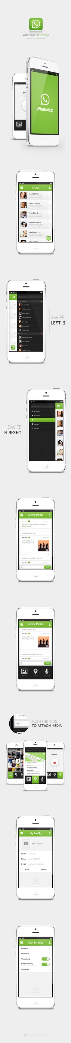 WhatsApp - Redesign Concept by Julian Kraske, via Behance