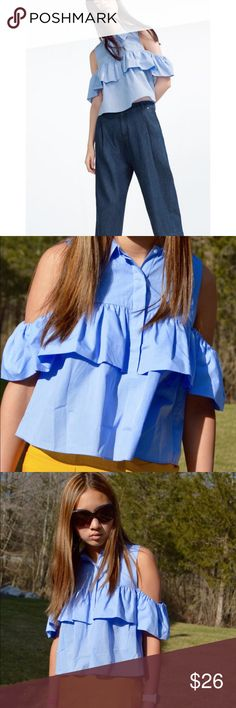 [zara] frilled poplin shirt in sky blue Gorgeously flowy, lapel collar, off the shoulder layered top! Elasticized sleeves. From this season, only large sizes left online. Worn twice. Perfect condition Zara Tops Blouses