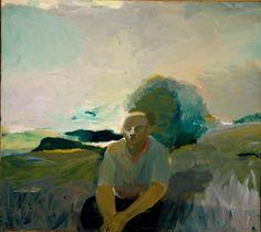 elmer bischoff -  figure in landscape, c. 1957.