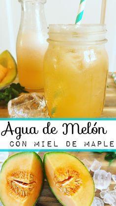 Refrescante agua natural de melón endulzada con miel de maple.