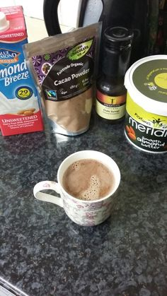 Deliciously Ella's hot chocolate recipe: It turned out so good! Simply place 1 cup of unsweetened almond milk in a pan, 1 tsp cacao powder, 2 tbsp of date syrup & 1 tsp of almond butter. Heat on low flame whilst continously stiring. Take it off the stove just before it starts boiling in order to retain some of the goodness. #cleaneating #healthy #healthyrecipes