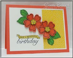 Ahhh, flower stamp sets...just love them! Can't have enough, right? Here's a new favorite set of mine, Birthday Blossoms! Again, most of these items were already cut and on my desk...my starts pi...