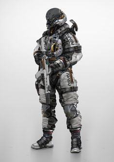 Combat Astronaut by Johnson TingWas originally done for a live demo I did back in early June decided to finish it up into a full body character concept. Combat Armor, Military Armor, Military Gear, Futuristic Armour, Futuristic Art, Futuristic Outfits, Robot Concept Art, Armor Concept, Character Concept