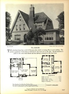 The DAVIS - Home Builders Catalog: plans of all types of small homes by Home… Small House Plans, House Floor Plans, Vintage House Plans, Vintage Homes, 1920s House, Vintage Architecture, Cottage Plan, House Blueprints, Sims House