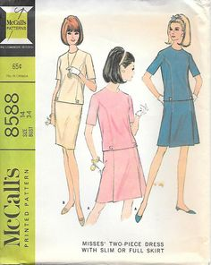 McCalls 8588 UNCUT 1960s Classic Two Piece Suit with Slim or
