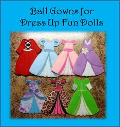 Felt Dress Up Fun Doll Ball Gown Embroidery by NewfoundApplique