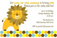 King of the Jungle  Lion Birthday Invitation by nounces on Etsy, $15.00