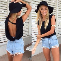 high-waisted denim shorts & floppy hat || zazumi.com
