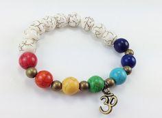 Sale Seven Chakras Balancing OM Charm Stretch by KayKaysDesigns, $10.00