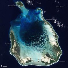 The Cocos (Keeling) Islands lie in the eastern Indian Ocean, about miles northwest of the Australian city of Perth. The Advanced Land Imager (ALI) on NASA's Earth satellite captured this natural-color image of South Keeling Islands on July Cocos Island, Small Island, Beautiful Places To Visit, Rest Of The World, Australia Travel, Perth Australia, Aerial Photography, Archipelago, New Adventures