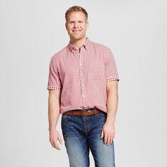 Men's Big & Tall Gingham Check Short Sleeve Shirt Red 5XB Tall - Merona