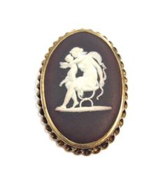 Vintage signed Wedgwood brown jasperware goldfilled numbered Cupid cameo brooch in Jewelry & Watches, Vintage & Antique Jewelry, Fine, Designer, Signed, Pins, Brooches | eBay