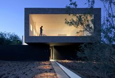 Beton Glas Fassade gestalten Beleuchtung
