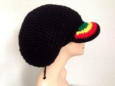 Medium Brimmed Crochet Rasta Tam. Brimmed by Africancrab on Etsy, $12.99