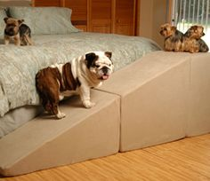 how to make dog stair for bed | Puppy Stairs pet steps and ramps give animals the boost they need to ...