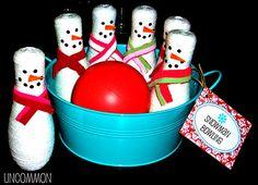 Snowman bowling--so cute! #winter #snowman