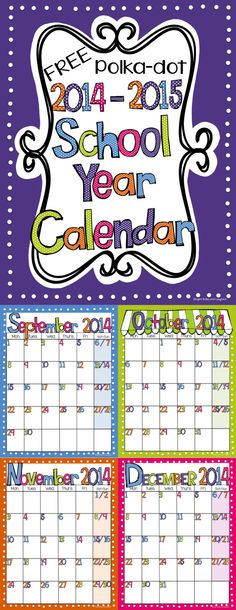 FREE Editable (PowerPoint) Calendar 2014 -15 School Year - Bright Polka dots.